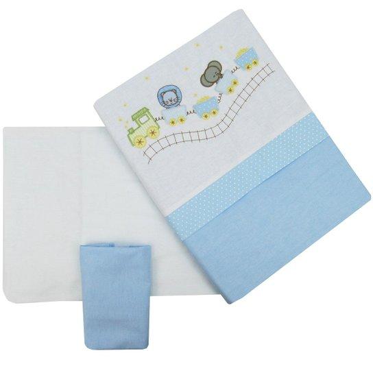 Jogo de Lençol para Berço Americano Masculino Leãozinho - Azul+Branco 8d7433245b03b