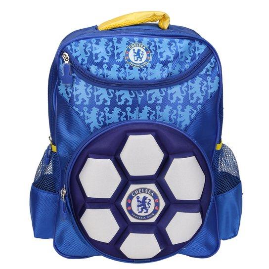 5274f41533 Mochila Chelsea Intantil Bola 3D - Azul+Branco
