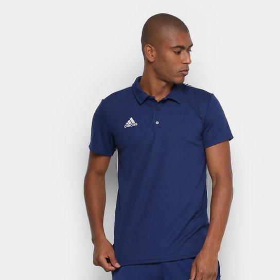 Camisa Polo Adidas Core 18 Masculina - Azul e Branco - Compre Agora ... 45acf45314d