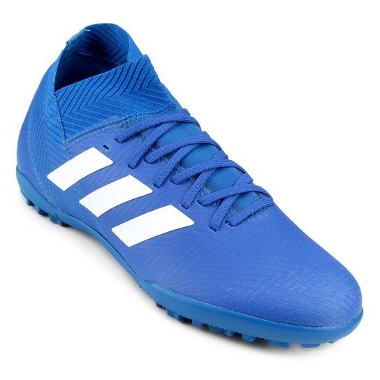 bdca441574a Chuteira Society Adidas Nemeziz Tango 18 3 TF - Azul e Branco ...