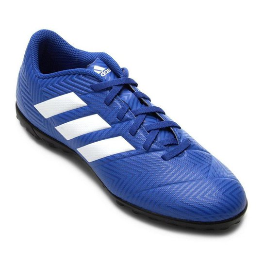 new style dcbd9 f9272 Chuteira Society Adidas Nemeziz Tango 18 4 TF - Azul+Branco