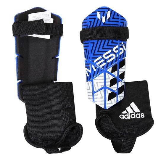 7138842d56 Caneleira Adidas Messi 10 Infantil - Azul e Branco - Compre Agora ...