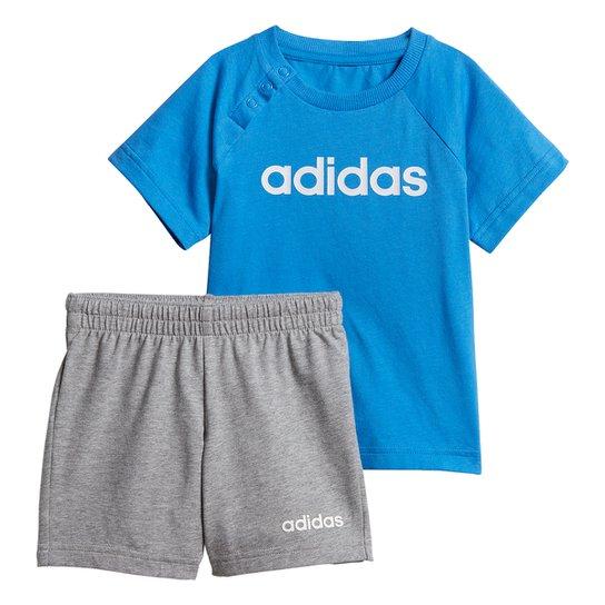 e42c015ad09 Conjunto Infantil Adidas Estampa Logo Lum Sum Set Bebê - Azul e ...