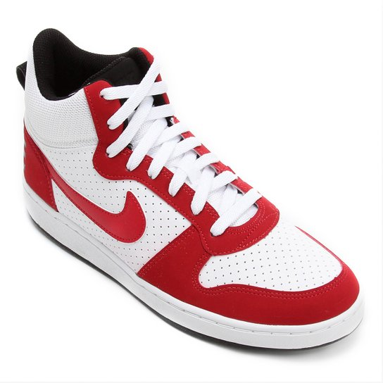 589f1b431f8 Tênis Couro Cano Alto Nike Recreation Mid Masculino - Branco+Vermelho