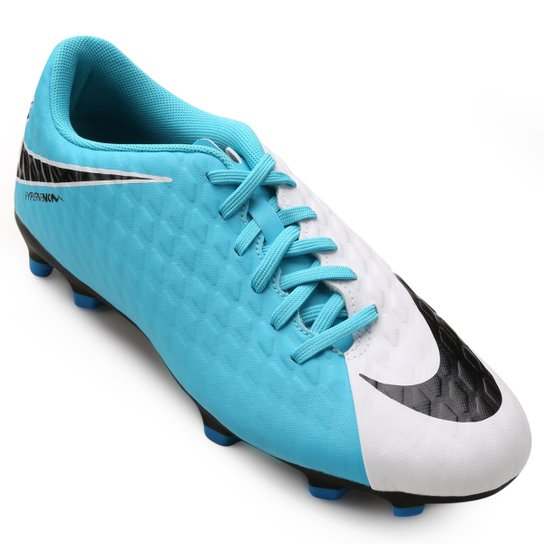 Chuteira Campo Nike Hypervenom Phade 3 FG - Azul e Branco - Compre ... 5df152d43a304