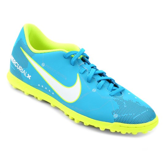 cb8360b959 Chuteira Society Nike Mercurial Vortex 3 Neymar Jr TF - Azul+Branco