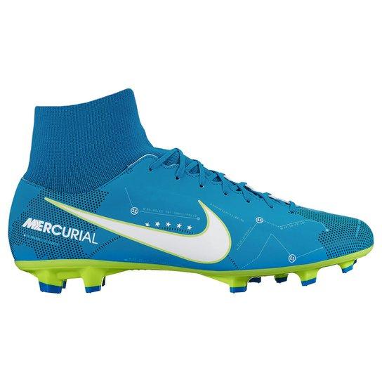 66f4c710fbd62 Chuteira Campo Nike Mercurial Victory 6 DF Neymar Jr FG - Azul+Branco
