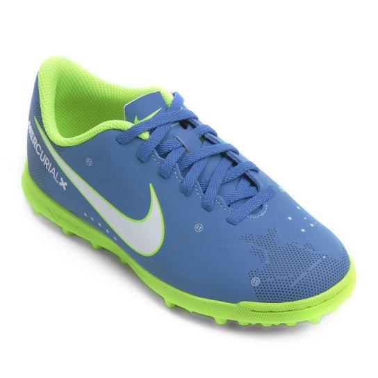 5fa556e7535b0 Chuteira Society Infantil Nike Mercurial Vortex 3 Neymar Jr TF - Azul+Branco