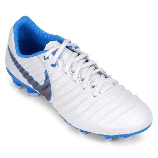 Chuteira Campo Nike Tiempo Legend 7 Academy FG - Branco e Azul ... 68acb98636c95