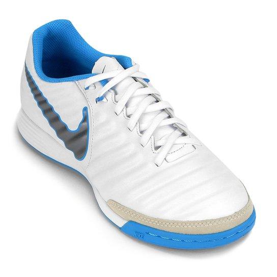 75bd2097b476f Chuteira Futsal Nike Tiempo Legend 7 Academy IC - Branco e Azul ...