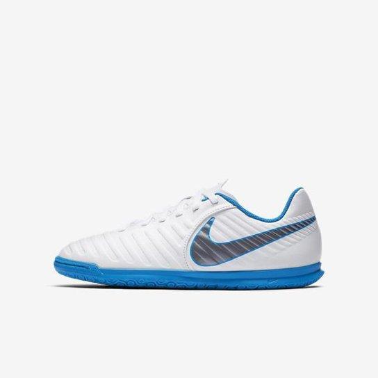 43e88277ef6d7 Chuteira Futsal Infantil Nike Tiempo Legend 7 Club IC - Branco e ...