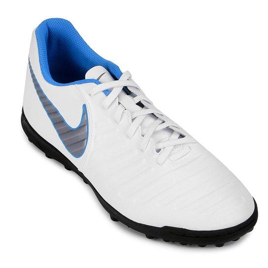 Chuteira Society Nike Tiempo Legend 7 Club TF - Branco e Cinza ... 2dd4022a2a792