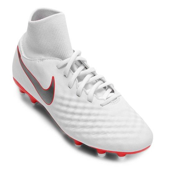 e840af1c22d0a Chuteira Campo Nike Magista Obra 2 Academy DF FG - Branco e Cinza ...