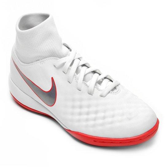Chuteira Futsal Nike Magista Obra 2 Academy Dinamic Fit Infantil -  Branco+Cinza ec1d55ed35b5e