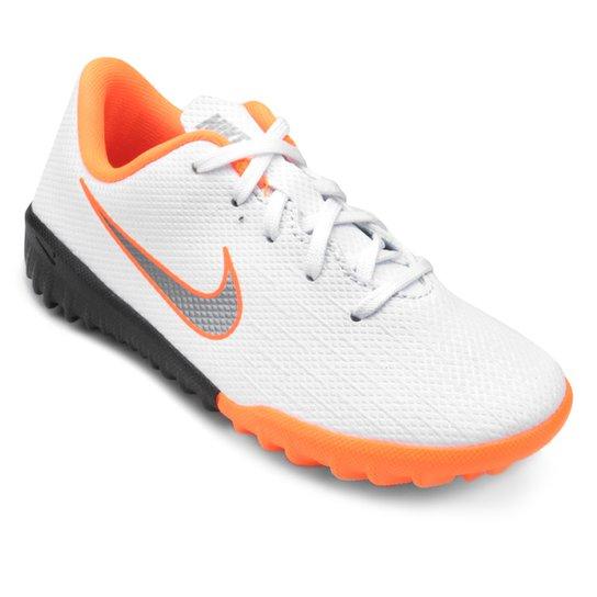 Chuteira Society Infantil Nike Mercurial Vapor 12 Academy - Branco e ... 6fb91fc463ae1