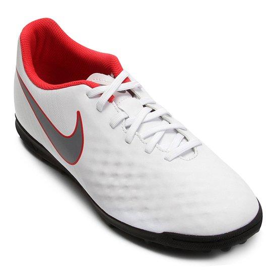 Chuteira Society Nike Magista Obra 2 Club TF - Branco e Cinza ... 772ebd20ff363