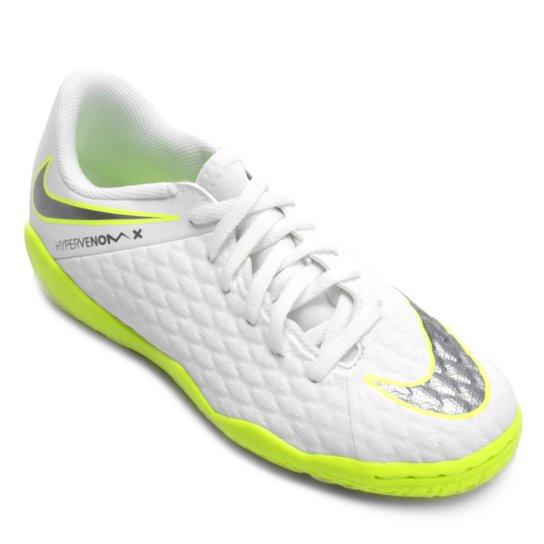 Chuteira Futsal Infantil Nike Hypervenom Phantom 3 Academy IC - Branco+Cinza 6a91dd1e20fb6