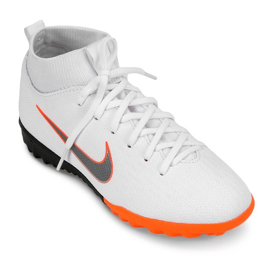 695462bdf2a Chuteira Society Infantil Nike Mercurial Superfly 6 Academy GS TF - Branco+ Cinza