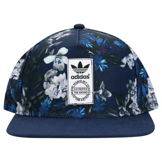 Boné Adidas Dark Floral - Marinho+Branco e9c7611b6ff