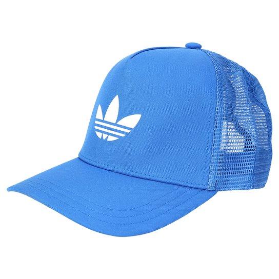 Boné Adidas Originals Trefoil Trucker - Azul Claro+Branco 7bf0b5edf74