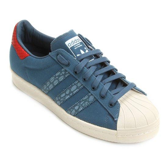 4601e8b2396 Tênis Adidas Superstar 80S - Azul Petróleo+Branco ...