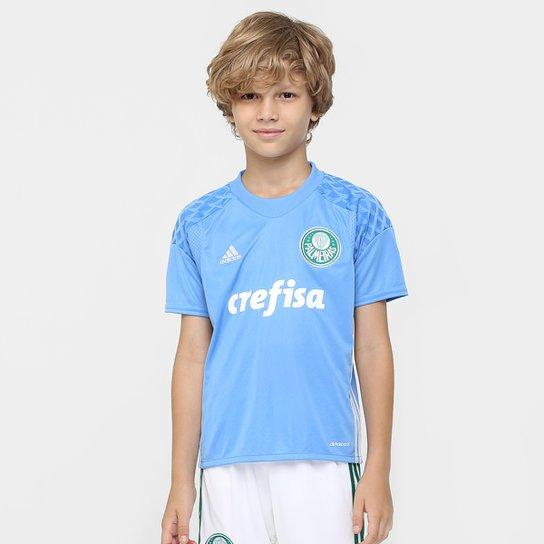 Camisa Palmeiras Infantil Goleiro 2016 s nº - Torcedor Adidas - Azul+Branco  ... 1708a84ba0dd6