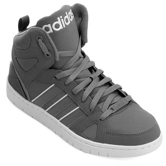 fbc818efdce Tênis Adidas Hoops Team Mid - Grafite+Branco