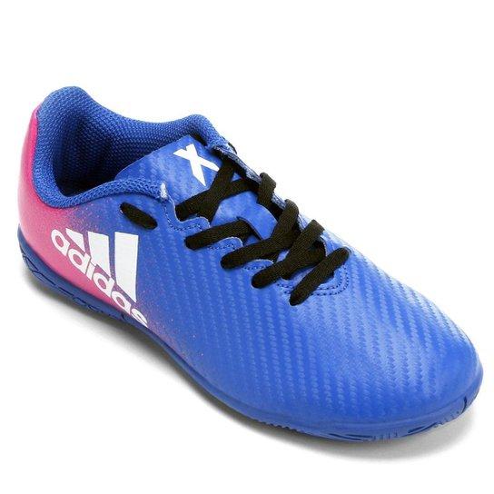 Chuteira Futsal Juvenil Adidas X 16 4 IN - Azul e Pink - Compre ... bf73ea12d9a19