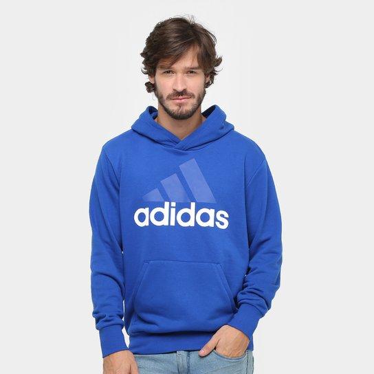 9937800f5c6 Moletom Adidas Essentials Linear Pullover French Terry C  Capuz - Azul+ Branco