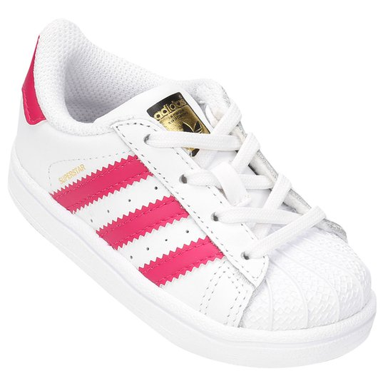 85a5a59e25 Tênis Adidas Superstar Foundation I Infantil - Branco e Pink ...