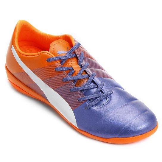 d9a9f878fd1 Chuteira Futsal Puma Evopower 3.3 IT Masculina - Azul e Laranja ...