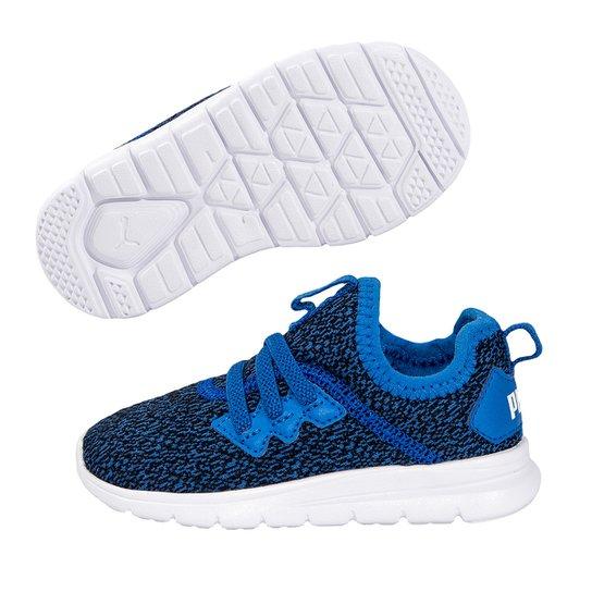 Tênis Infantil Puma Flash Knit AC - Azul e Branco - Compre Agora ... 708569333a8c1