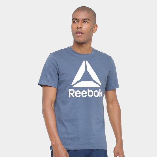 Camiseta Reebok Stacked Logo Masculina - Azul Royal+Branco 29ae64c88970