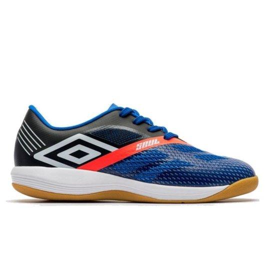 cfc7de5557 Chuteira Futsal Umbro Indoor Soul Pro Masculina - Azul e Branco ...