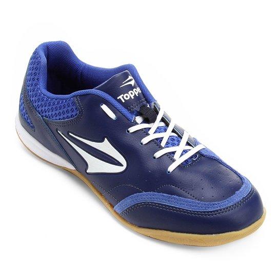 Chuteira Futsal Topper Maestro - Azul e Branco - Compre Agora  a013de3a481e8
