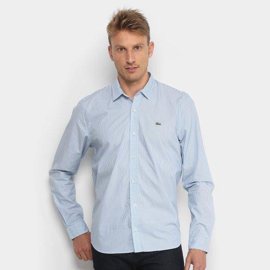 Camisa Lacoste Manga Longa Listrada Masculina - Azul e Branco ... 7f242cc829