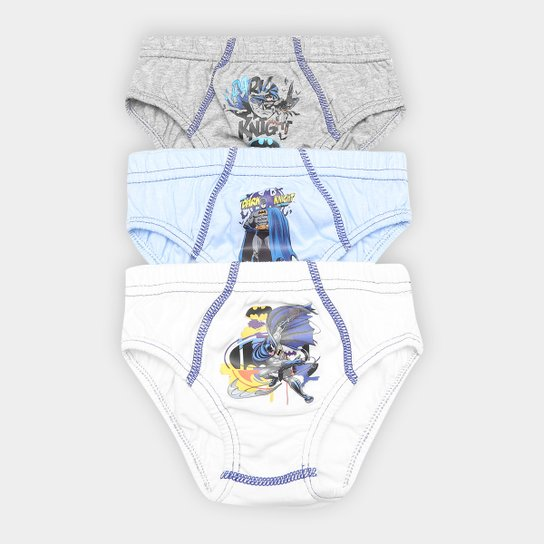 101356d23760c2 Kit Cueca Slip Infantil Lupo Batman 3 peças - Branco e Cinza