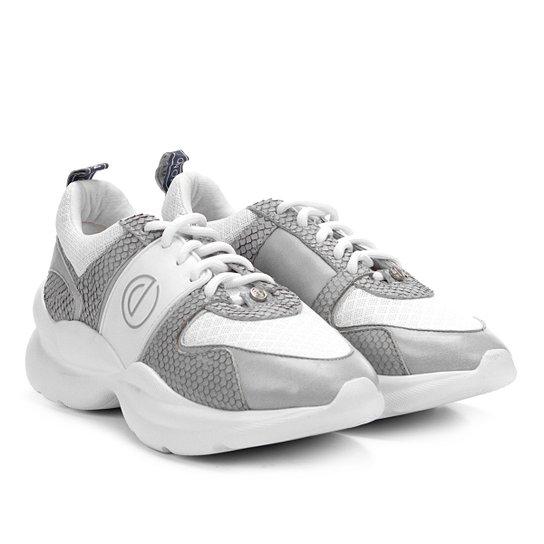 3af63d6e4 Tênis Couro Dumond Chunky Sneaker Detalhes Mini Snake Feminino - Branco +Cinza