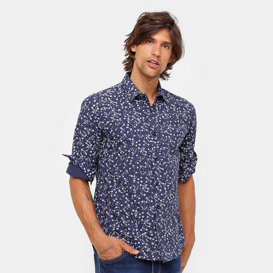 2f76cb1f1 Camisa Colcci Florida Manga Longa Masculina - Azul+Branco