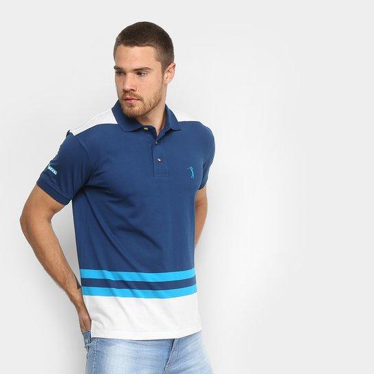 6eb66d67ba Camisa Polo Listrada Aleatory Manga Curta Masculina - Azul+Branco