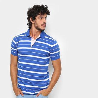 4d85ceb1d6ba7 Camisa Polo Aleatory Fio Estampa Listrada Masculina