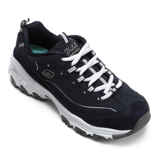 42d68f1e0c2 Tênis Couro Skechers D Lites Me Time Feminino - Azul e Branco ...