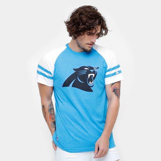Camiseta NFL Carolina Panthers New Era Logo Masculina - Azul Turquesa+Branco 9572ca1f127