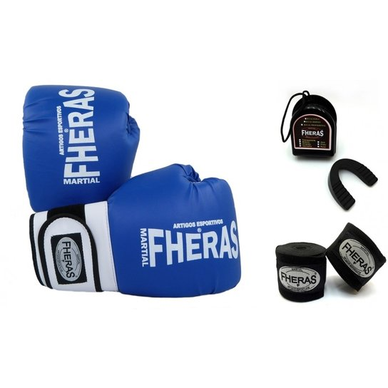 1b66b8eb9 Kit Fheras Luva de Boxe   Muay Thai Orion 10 oz + Bandagem + Bucal ...