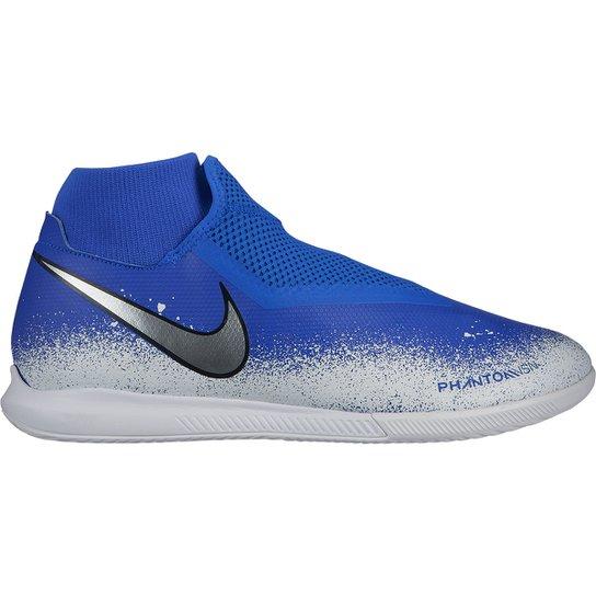 320b40d837 Chuteira Futsal Nike Phantom Vision Academy DF IC - Azul e Branco ...