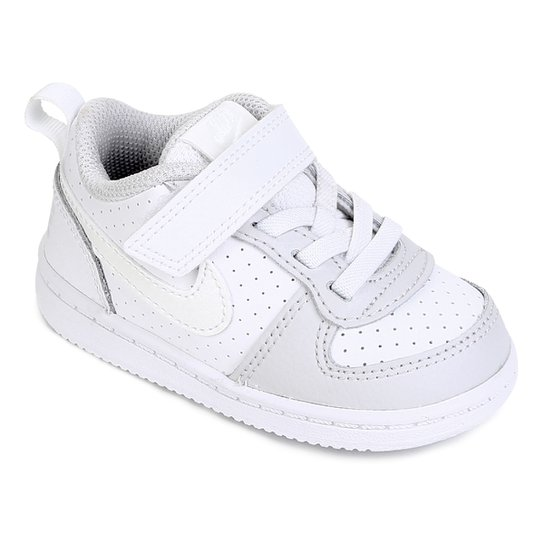 19e486829ee Tênis Nike Infantil Court Borough Low Feminino - Branco e Cinza ...