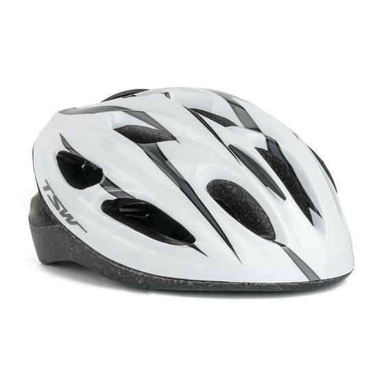 0081f0380 Capacete Ciclista MTB Walk Com Viseira - TSW - Branco+Cinza