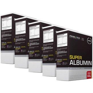 5x Super Albumin Com Biotina - Morango - 500g - Probiótiica