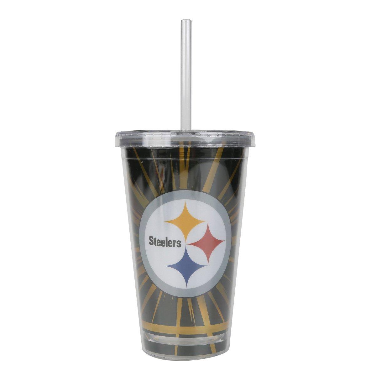 Copo com Canudo NFL Pittsburgh Steelers 480 ml