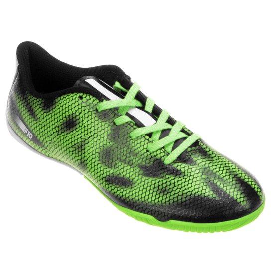 fc7e62610c5 Chuteira Adidas F10 IN Futsal - Verde Limão+Preto
